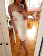 Biała bandażowa sukienka Missguided siatka paski XS 34