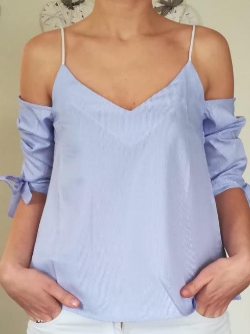 bluzka na ramiączkach z opadającymi ramionami