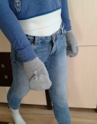 szare błyszczące rękawiczki house M...