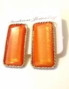 kolczyki prostokąty pomarańczowe połyskujące