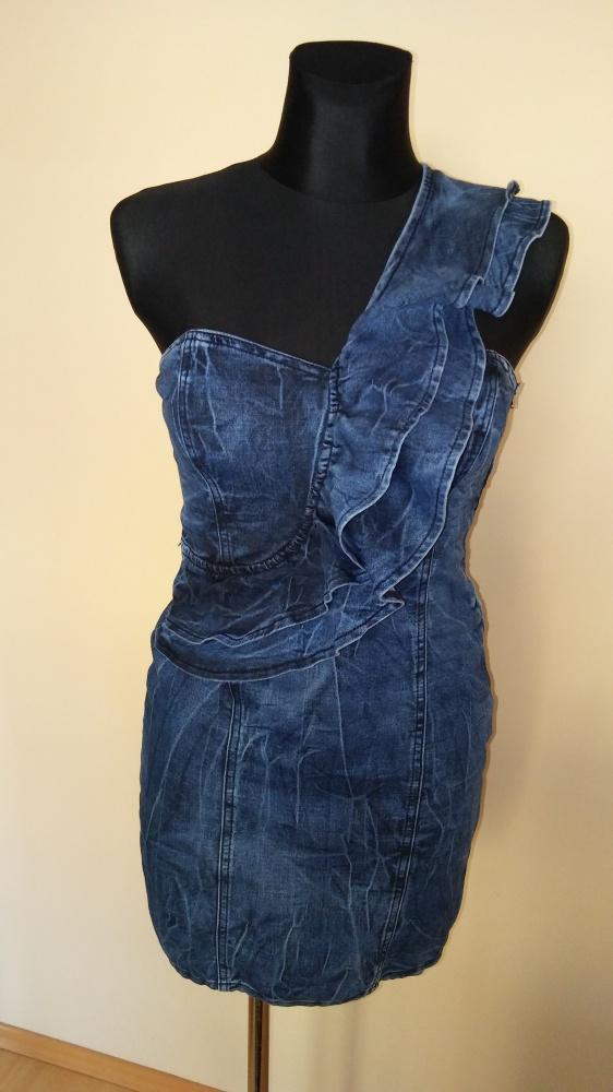 Suknie i sukienki Sukienka jeansowa falbanka