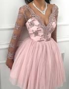 Sukienka koronkowa tiulowa