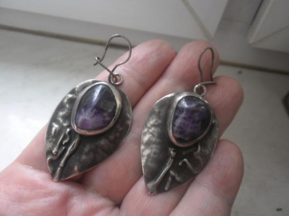 Kolczyki Piękne srebrne art kolczyki z ametystem 19 gramów