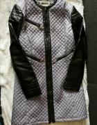 płaszcz wiosenny pikowany skórzane rękawy 40