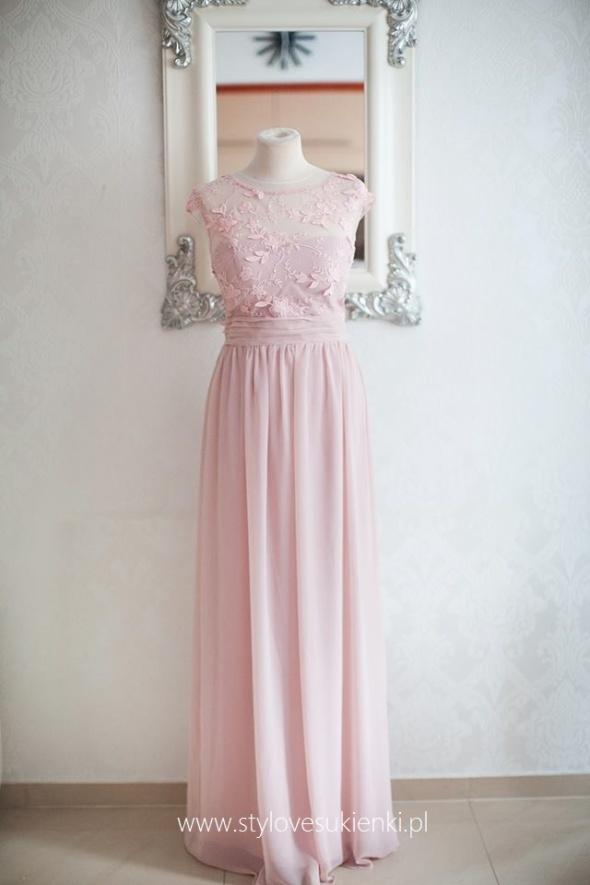 2c868b5a3a Suknie i sukienki Luksusowa długa różowa sukienka szyfonowa z siateczką i  ozdobami 3D