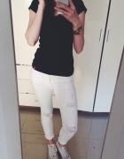 Białe spodnie rurki 7 8 S 36...