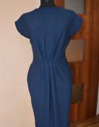 Granatowa midi sukienka
