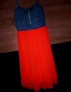 Sukienka jeans szyfon neonek neonkowa koralowa