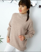Sweter z golfem pearl puder perełki