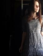 Szara sukienka bawełniana sukienka lniana sukienka boho