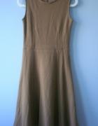 Mango wełniana sukienka camel midi rozkloszowana
