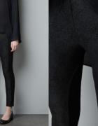 Spodnie legginsy ZARA wstawki skóra rozmiar XS