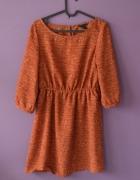 brązowa pomarańczowa sukienka 36 S H&M