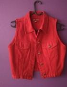 czerwona kamizelka jeansowa 34 36 XS S
