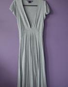 długa sukienka MID dekolt szara BASIC 34 36 XS H&M
