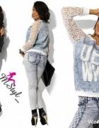 Przepiekna jeansowa koronkowa