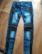 cudowne jeansy z eko skórka i zipem