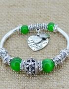 Bransoletka modułowa charms silver green 18 do 20cm