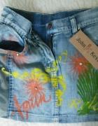 Spódniczka kolorowa jeans  malowane kwiaty