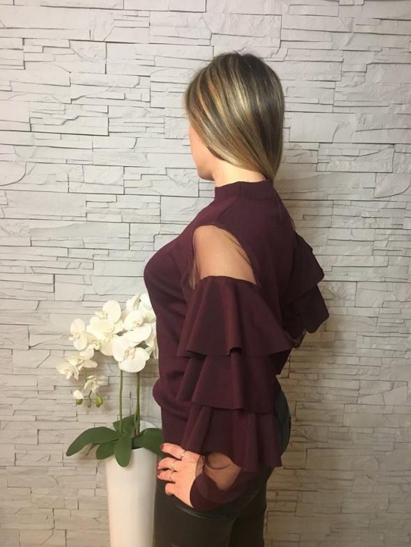 Elegancka bluzka sweterkowa siateczka falbany