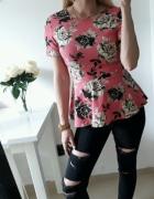 H&M bluzka kwiaty roz z baskinka SM