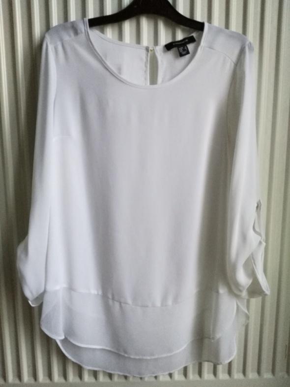 Śliczna biała bluzka mgiełka z falbanką