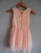 Tiulowa sukienka pudrowy róż 128134