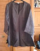H&M lniana tunika dla puszystej 48 50 brąz
