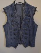 jeansowa kamizelka ozdobne guziki 38 40 M L