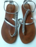 sandały szare cyrkonie 38