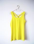 Neonowa żółta bokserka top bluzka krzyżowana
