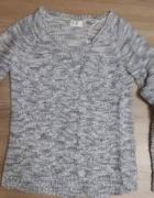 Sweter szaro biały pleciony S 36 OKAZJA