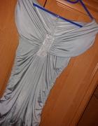 Prześliczna Srebrna Sukienka Tunika Dekolt