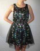 Sukienka H&M w kropki z czarnym tiulem do kolan na ramiączkach ...