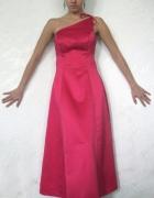 Różowa suknia długa na jedno ramię S błyszcząca USA Studniówka...