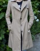 beżowy długi elegancki płaszcz trencz prochowiec jesień 34 36 XS S