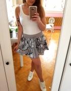 Szara dresowa spódniczka H&M wzory S 36 falbanka...