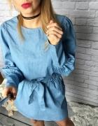 Jeansowa sukienka wiązana kieszenie