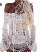 boho hiszpanka biała bluzka koronka s