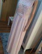 Maxi sukienka pudrowy róż M