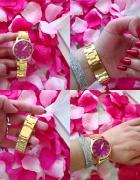Zegarek z różową tarcza