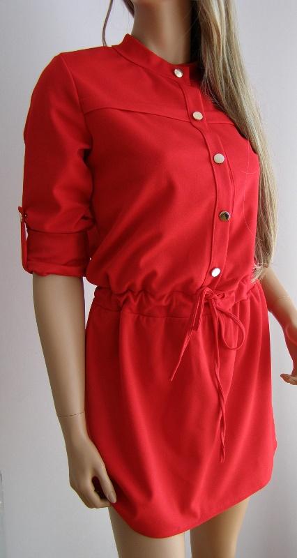 sukienka szmizjerka italia włoska guziki M L czerwona guziki
