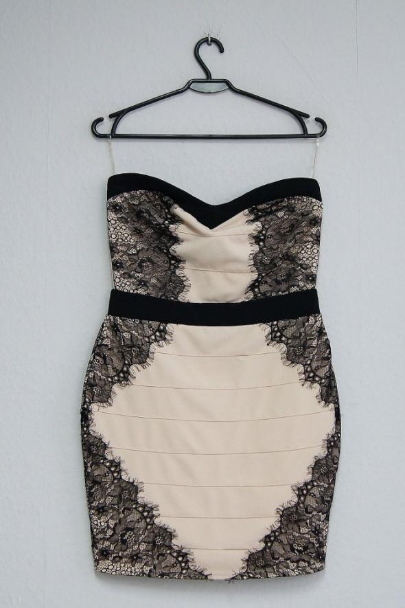 Lisy London sukienka nude z koronką 36 38 stan idealny zip...