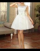 Biała suknia ślubna krótka kokarda tiul koronka XS S nowa 34 36