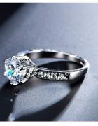 Nowy pierścionek srebrny kolor duża cyrkonia elegancki