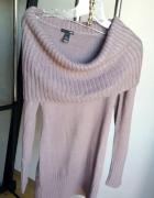 golf H&M pudrowy róż sweter z kominem z golfem H&M S