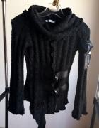 golf czarny wstawki skórzane sweter z golfem z kominem skórzane wstawki r S