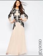Asos maxi pudrowa sukienka z czarną koronką...