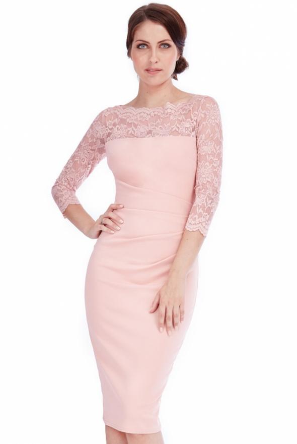 b0eebee1bb Elegancka beżowa sukienka midi wyszczuplająca w Suknie i sukienki ...