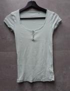 Bluzka T shirt miętowa guziki prążkowana S Fishbone...